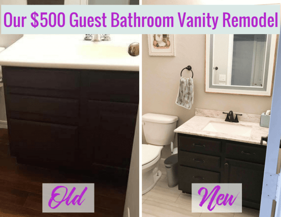 We recently remodel our guest bathroom vanity, all for around $500. Ready to do a little bathroom vanity DIY? You can save a bunch of money if you try it yourself!