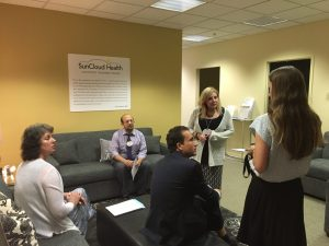 SunCloud Health Outpatient Treatment Center - Substance Abuse, Drug Addiction, Eating Disorder, Dr Kim Dennis leading a team meeting at SunCloud Health, Highland Park, IL
