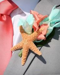 coral seafoam starfish buttonhole