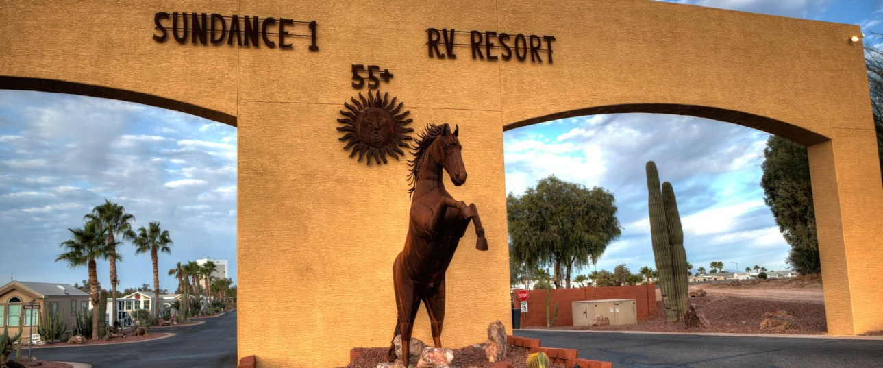 The entrance to Sundance 1 RV Resort Arizona