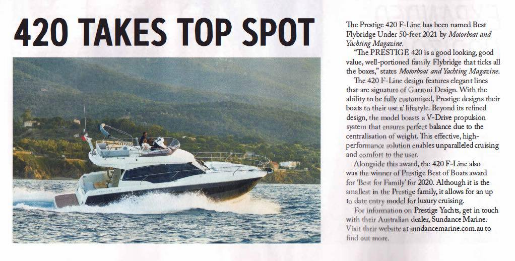 tradeaboat magazine clipping of 420 Prestige feature