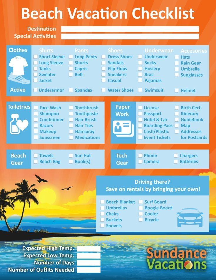 Sundance Vacations - Vacation Checklists! -