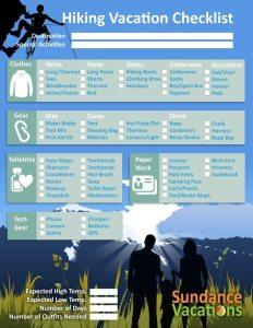 Hiking Vacation Checklist Sundance Vacations