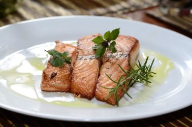 Try a delicious salmon at The Brewster Fish House!