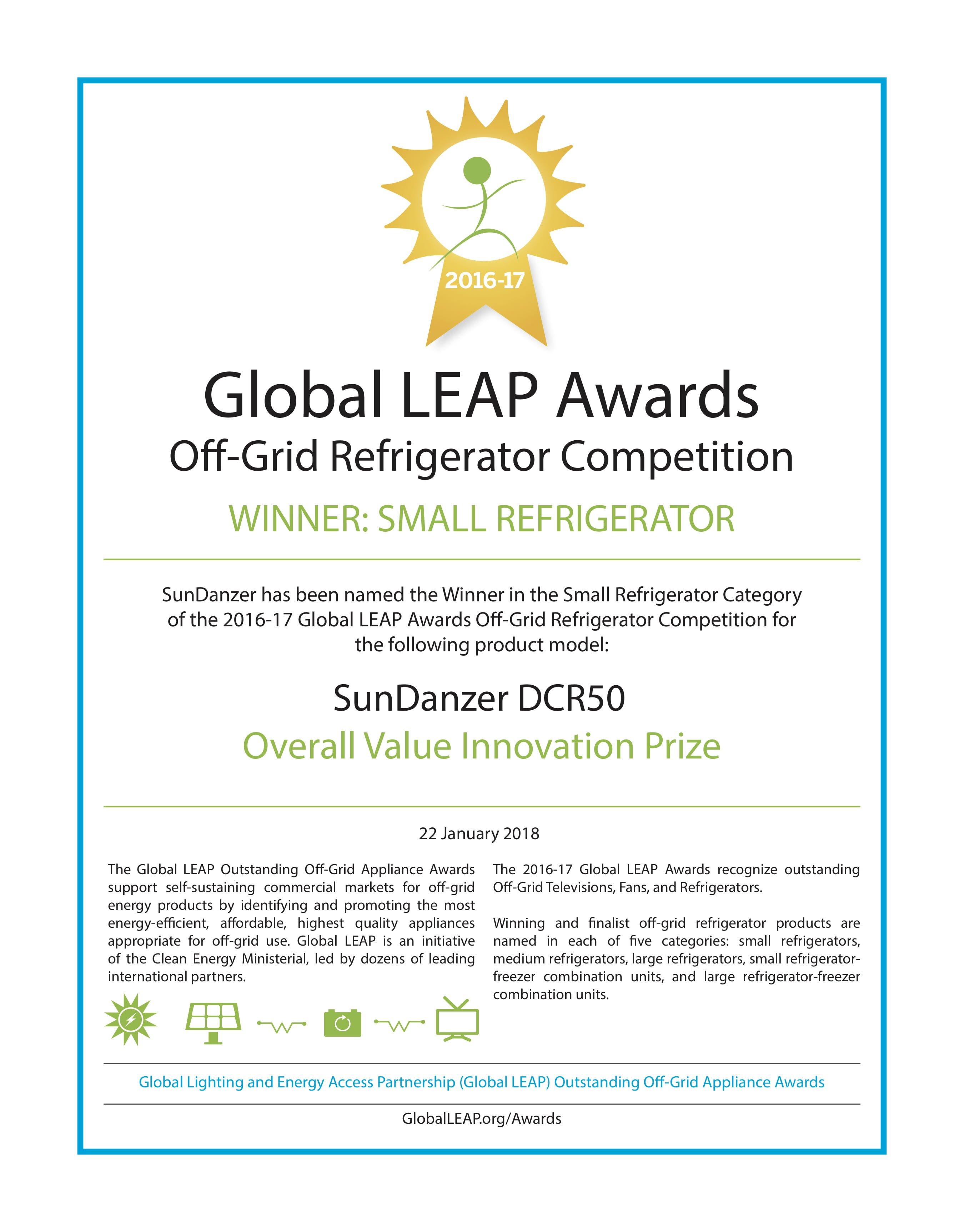 sundanzer leap certificates awards global refrigerators refrigerator
