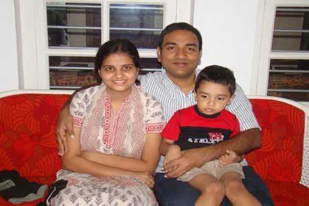 Guests of the Only Vegetarian Homestay in Wayanad Aparna, Somnath and Ishaan