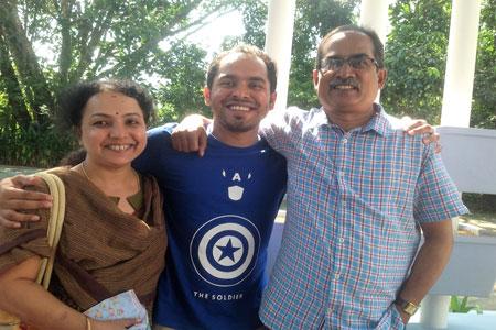 Sundara Mahal Vegetarian Homestay guests Chandra and family