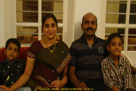 Sundara Mahal Vegetarian Homestay guests Kalyani and family