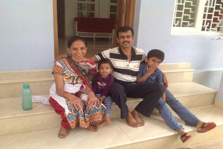 Sundara Mahal Vegetarian Homestay guests Lakshmi Kadaba and family