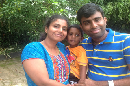 Sundara Mahal Vegetarian Homestay guests Rajeswari and family