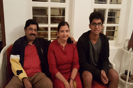 Sundara Mahal Vegetarian Homestay guests Revathi and family