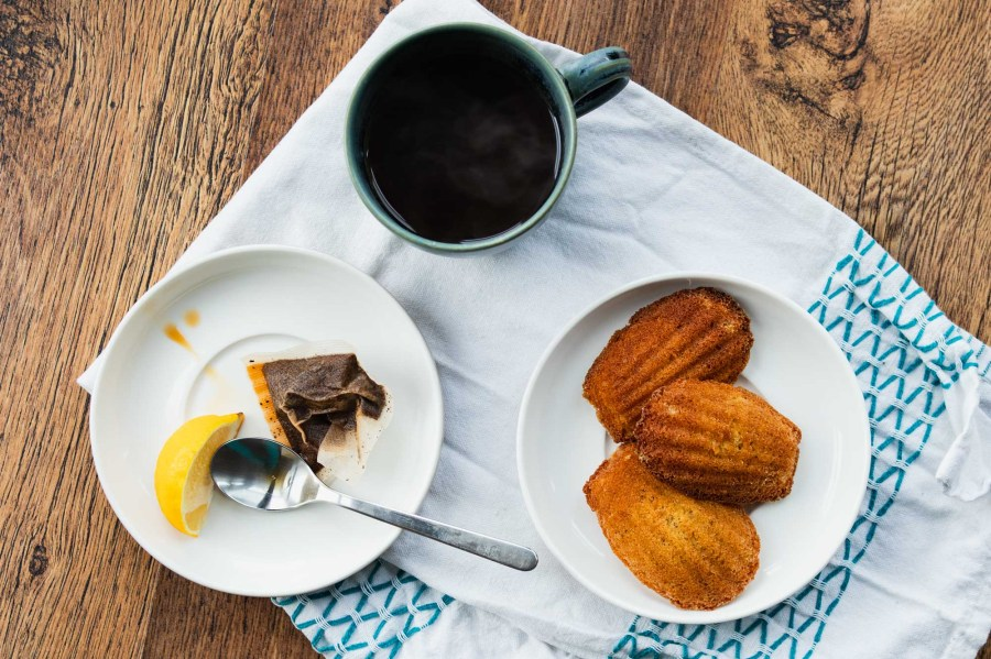 Earl Grey Madeleines with a cup of tea