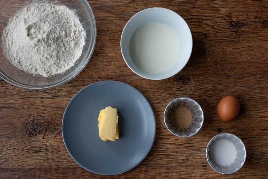 The ingredients for Brunsviger dough