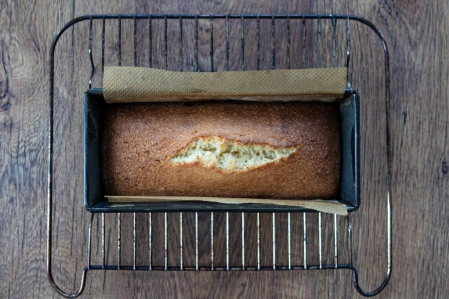 freshly baked quatre-quarts cake