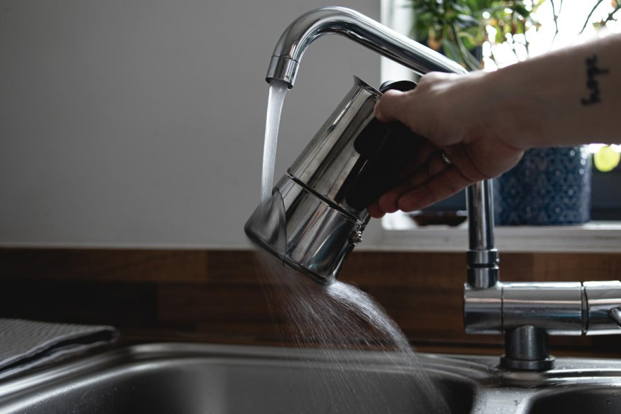 run the base of the moka pot under cold water to stop the brewing process