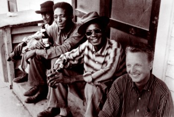 (Left to right) unknown, Long Gone Miles, Lightning Hopkins, and Chris Strachwitz, Houston, Texas, 1959, Courtesy Chris Strachwitz