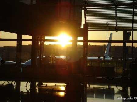 Amanhecer no aeroporto de Madrid