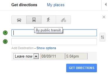 pesquisando transporte no Google Maps
