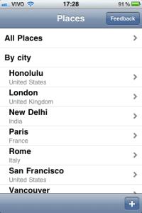 Lista dos locais salvos no TripDoc