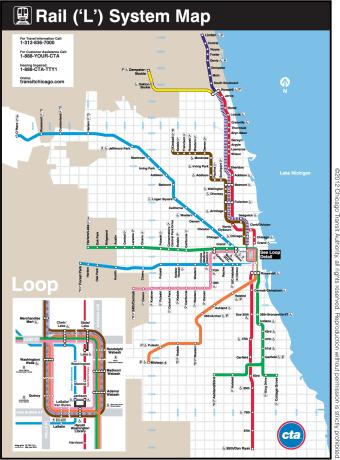 Metrô de Chicago - mapa da CTA