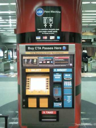 metrô de chicago - máquina de compra de passes do aeroporto