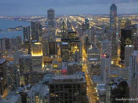 360 Chicago (antido John Hancock Observatory) - vista do alto 4 Luzes da cidade