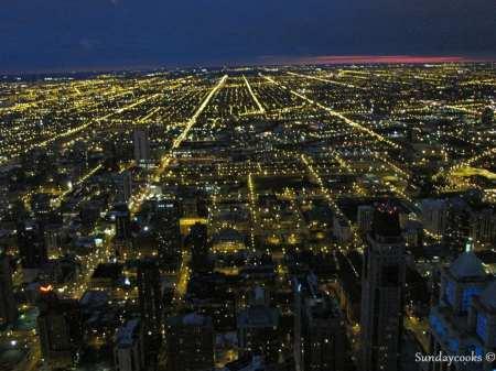 360 Chicago (antido John Hancock Observatory) - vista do alto 6 luzes da cidade