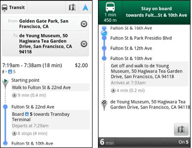 Google Maps Transit Navigator