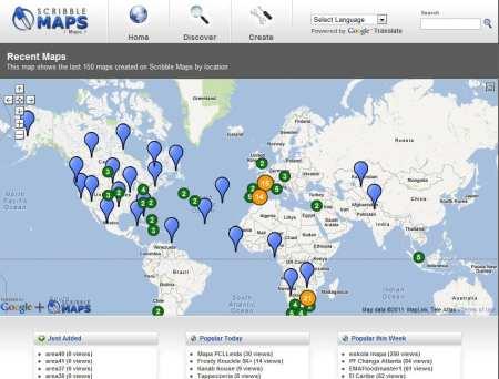 Scribble Maps - página inicial