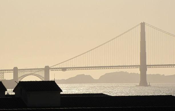 Golden Gate ao entardecer
