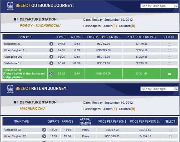 Como ir para Machu Picchu - trens disponíveis