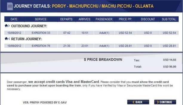 Como ir para Machu Picchu - Resumo da compra