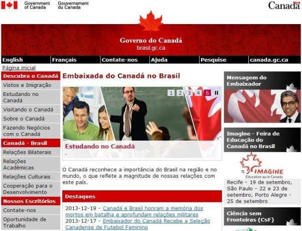 Como tirar o visto canadense - site da Embaixada Canadense