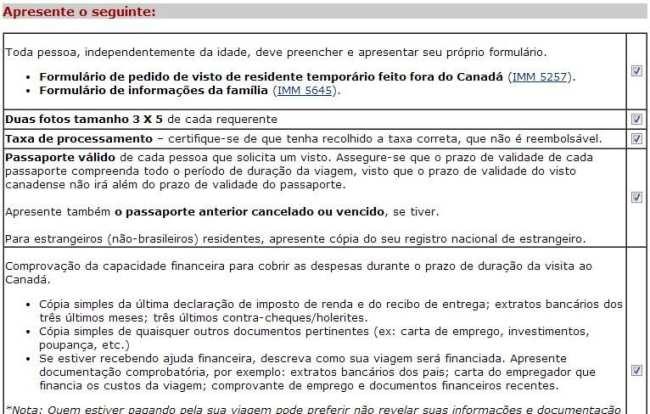 Como tirar o visto canadense - Checklist de documentos para o visto