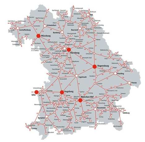 Mapa das linhas de trens da Bavária