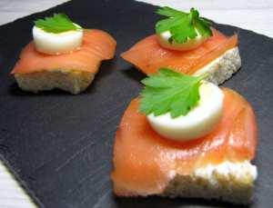 Receitas de Tapas e canapés - canapé de salmão