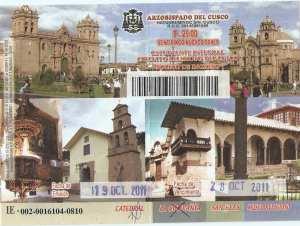 Boleto religioso de Cusco - frente
