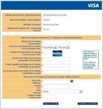 Ingressos para Machu Picchu - Tela de pagamento da Visa (18/03/2013)