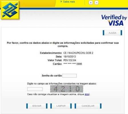 Ingressos para Machu Picchu Verified by Visa - Hora de colocar a senha do seu banco