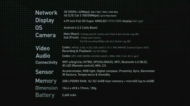 Samsung Galaxy S4 - Especificações