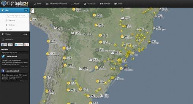 FlightRadar24 - vôos sobre o Brasil
