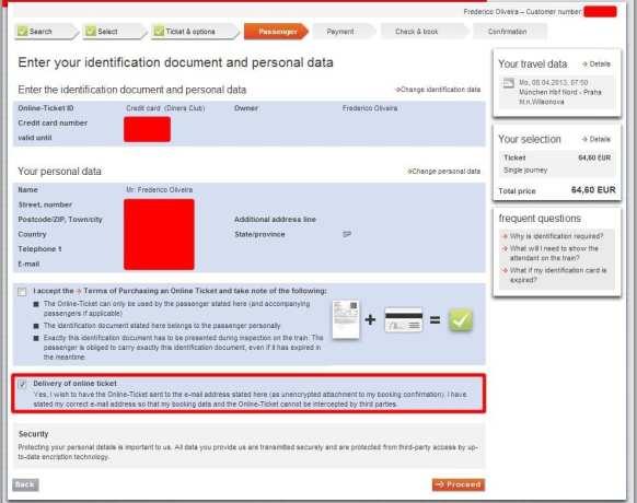 Como ir de Munique para Praga - confira se os dados da sua conta e cartão de crédito conferem