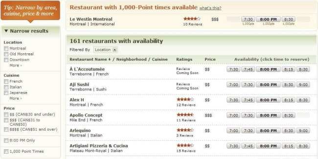 OpenTable - restaurantes disponíveis