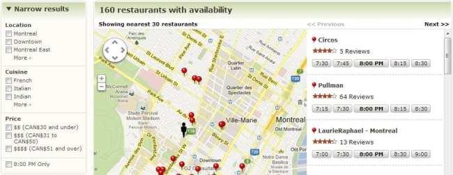 OpenTable - mapa com restaurantes disponíveis