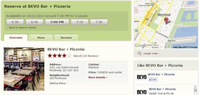 OpenTable - escolhendo um restaurante