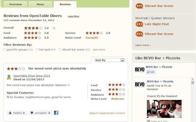OpenTable - reviews