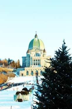 Natal e ano novo na neve de Montreal - Pinheiro na basílica