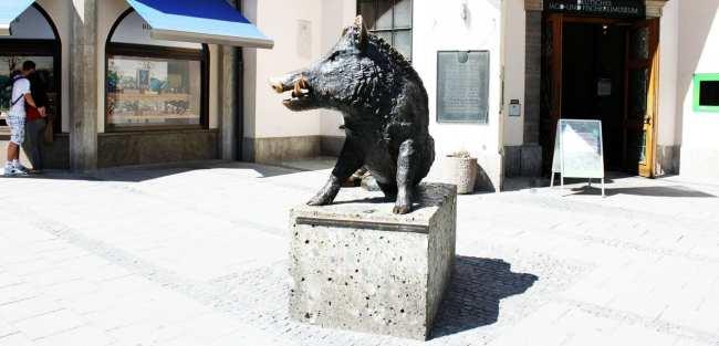 Centro histórico de Munique - Estátua de um porco :)