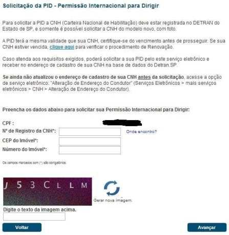 Como tirar a PID em São Paulo - formulário