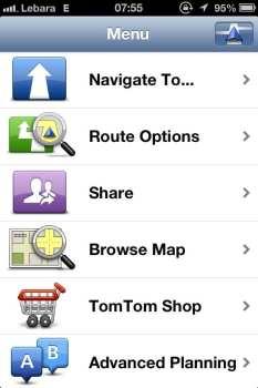 App de GPS TomTom - Opções principais